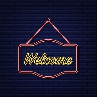 Welkom hangend teken. teken voor deur. neon icoon. vector illustratie.