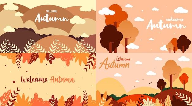 Welkom herfst achtergrond illustratie vector