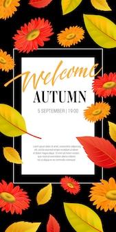Welkom herfst belettering met bladeren en bloemen. herfstaanbieding of verkoopreclame