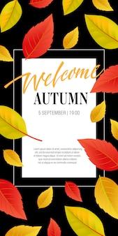 Welkom herfst belettering met heldere bladeren. herfstaanbieding of verkoopreclame