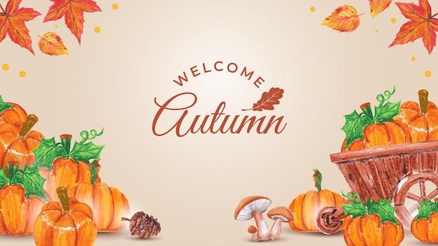 Welkom herfst pompoen achtergrond