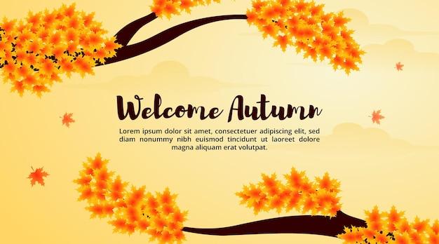 Welkom herfstachtergrond met een esdoornboom en vallende bladerenillustratie