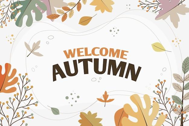 Welkom herfstbladeren achtergrond