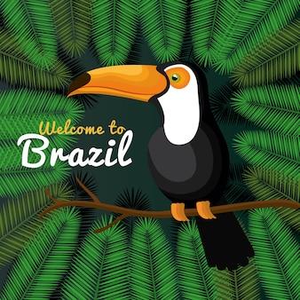 Welkom in brazilië die het ontwerp van de pictogrammen vectorillustratie vertegenwoordigen