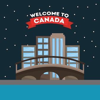 Welkom in canada montreal stad vectorillustratie