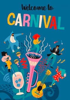 Welkom in carnaval. vector illustratie met grappige mannen en vrouwen in heldere moderne kostuums.