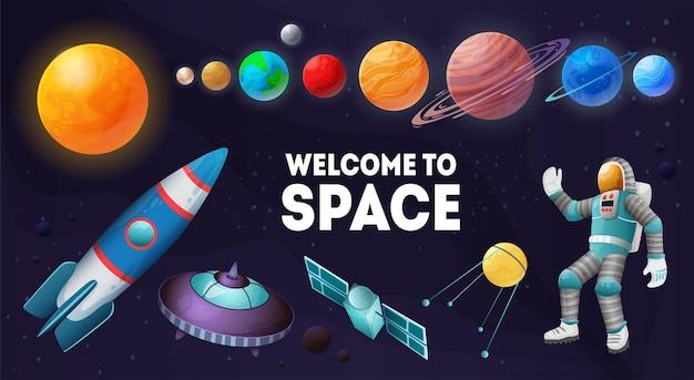 Welkom in de ruimte kleurrijke samenstelling van planeten zon zonnestation satelliet ruimtevaartuigen astronaut set illustratie