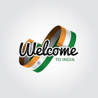 Welkom in india, vectorillustratie op een witte achtergrond