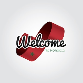 Welkom in marokko, vectorillustratie op een witte achtergrond