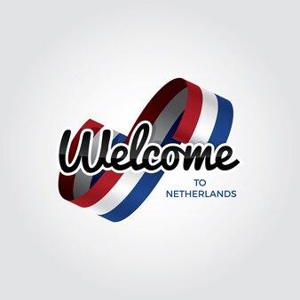 Welkom in nederland, vectorillustratie op een witte achtergrond