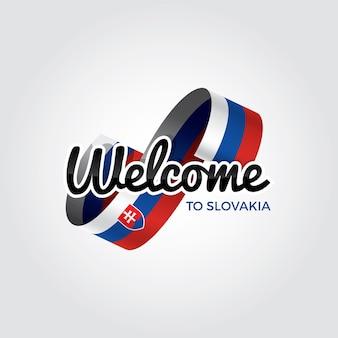 Welkom in slowakije, vectorillustratie op een witte achtergrond