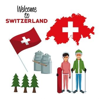 Welkom in zwitserland met traditionele elementen en skiërs