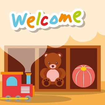 Welkom kleuterschool speelgoed beer trein en bal