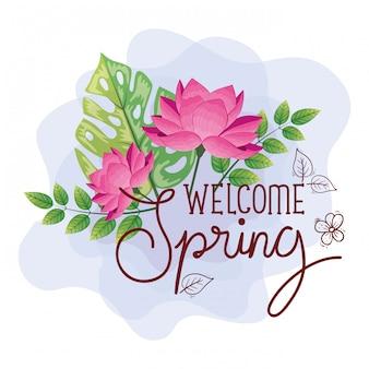 Welkom lente, belettering lente seizoen met bloemen roze kleur en bladeren natuur decoratie illustratie