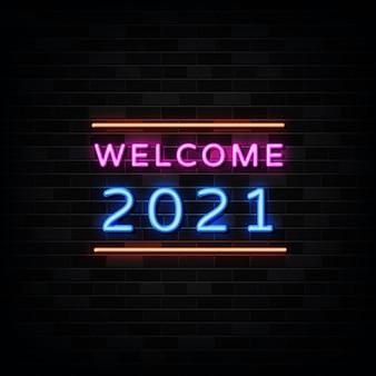Welkom nieuwjaar neonreclame