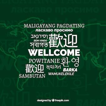 Welkom samenstellingsachtergrond met verschillende talen