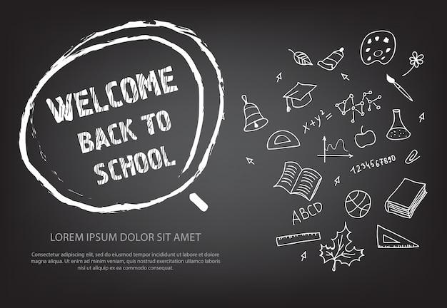 Welkom terug bij school die in hand getrokken krijtcirkel van letters voorziet