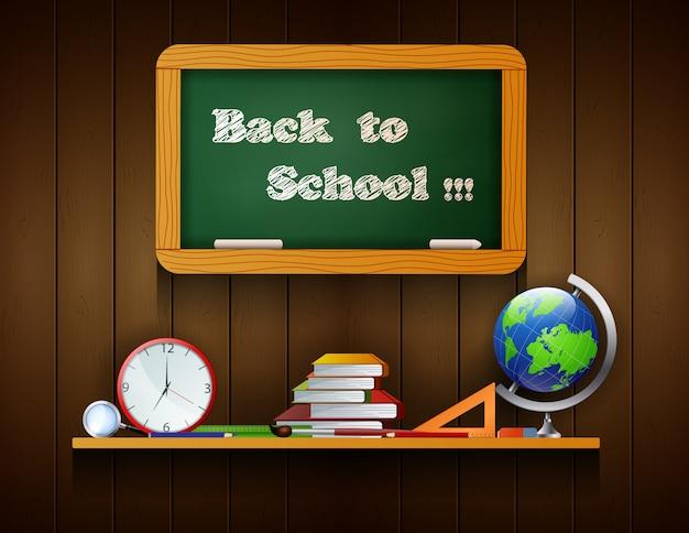 Welkom terug bij schoolraad die op de houten achtergrond hangen