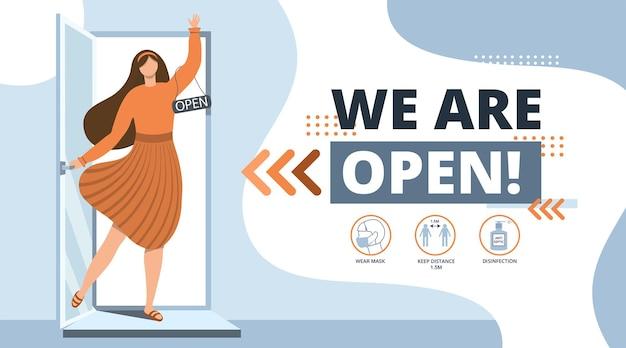 Welkom terug na pandemische coronavirus vrouw opent een café winkel winkel salon klein bedrijf