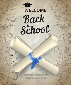 Welkom, terug naar school letters en gekruiste diploma-scrolls
