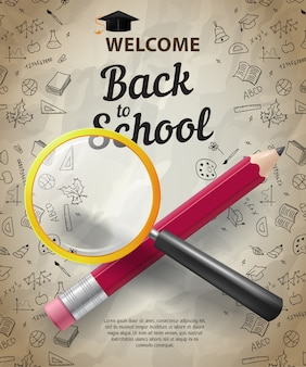 Welkom, terug naar school letters met potlood en vergrootglas
