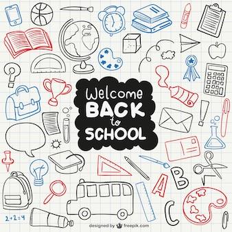 Welkom terug naar school pictogrammen