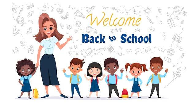 Welkom terug naar schoolconcept leerlingen op het uniform lachend met hun leraar Premium Vector