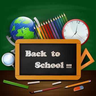 Welkom terug op school achtergrond met schoolmateriaal