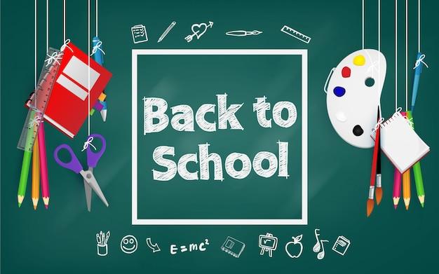 Welkom terug op school. achtergrond, poster en sjabloon