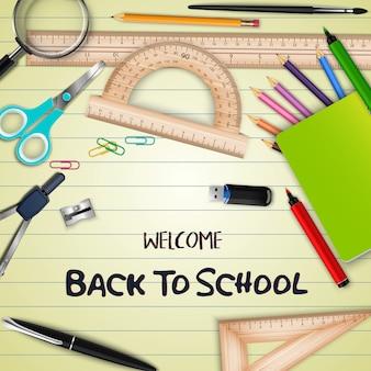 Welkom terug op school bannerontwerp met schoolbenodigdheden