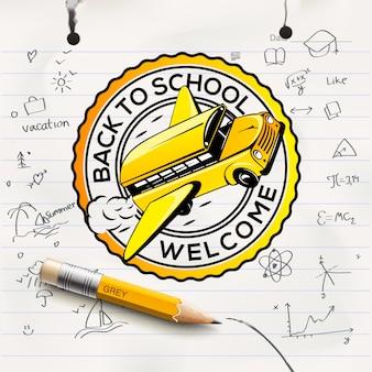 Welkom terug op school concept, school notitieboekje vel, uit de vrije hand tekenen achtergrond, illustratie