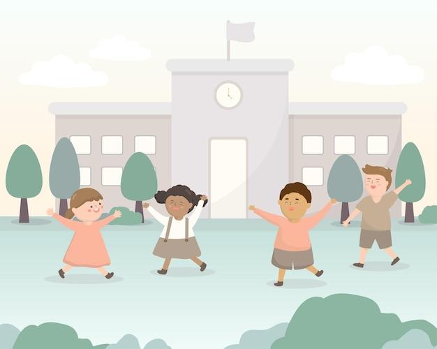 Welkom terug op school. de school heeft het semester geopend.