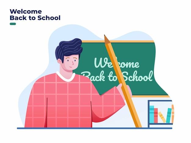 Welkom terug op school illustratie met student in de klas en breng potloden mee