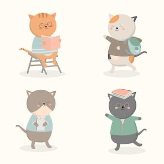Welkom terug op school met de grappige vlakke afbeelding van schooldierenkarakters.