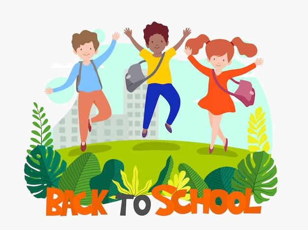 Welkom terug op school, schattige schoolkinderen.