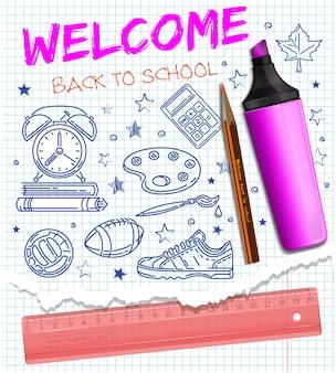 Welkom terug op school. school pictogrammen instellen. gestileerde afbeelding met balpen. inzameling van pictogrammen rond het thema van de school met de hand getekend op een notitieboekblad. illustratie