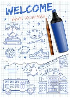 Welkom terug op school. school pictogrammen instellen. inzameling van pictogrammen rond het thema van de school met de hand getekend op een notitieboekblad. illustratie