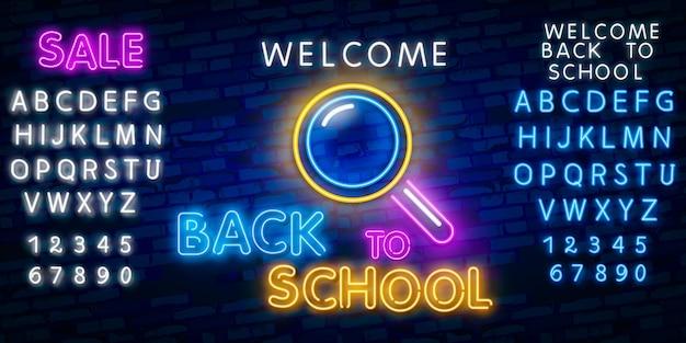 Welkom terug op school. typografie lettertype alfabet neon stijl effect