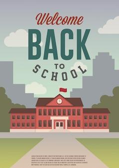Welkom terug op school. vlakke stijl retro poster, flyer, banner.