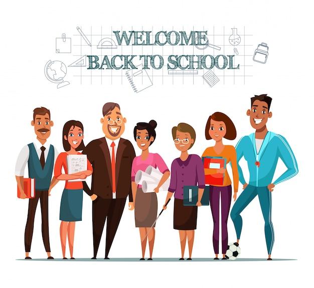 Welkom terug op schoolillustratie met leraren