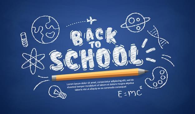 Welkom terug op schooltekst op blauw bord