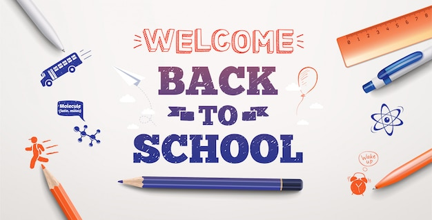 Welkom terug op schoolteksttekening op witte achtergrond met schoolitems en -elementen. illustratie banner