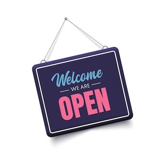 Welkom, we zijn open teken