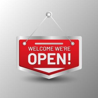 Welkom we zijn open teken
