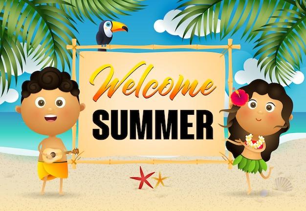 Welkom zomer belettering met gelukkige inboorlingen