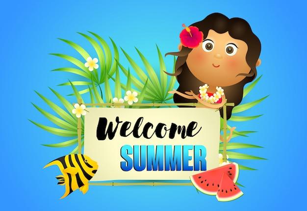 Welkom zomer belettering met inboorling vrouw en watermeloen