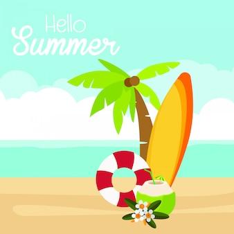 Welkom zomer met watermeloen en ligstoelen