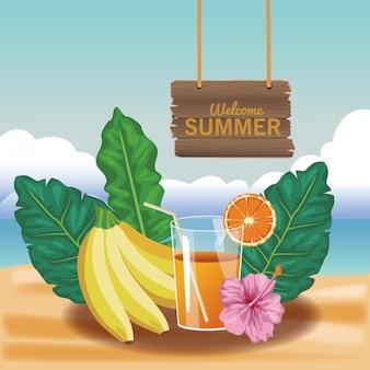 Welkom zomersap en bananen met bloem