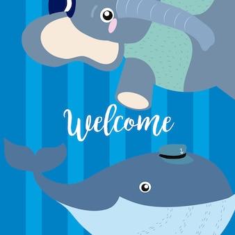 Welkomstkaart met grappige dierencartoons