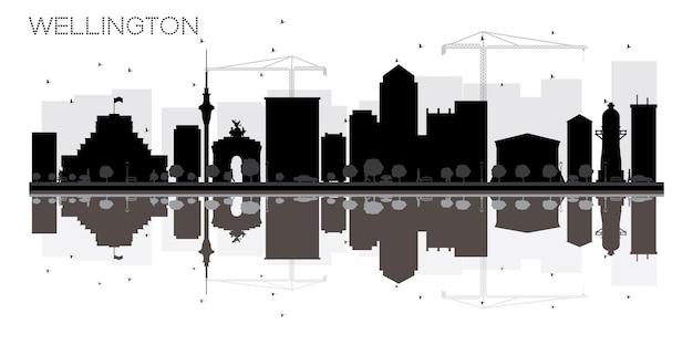 Wellington city skyline zwart-wit silhouet met reflecties. vector illustratie. eenvoudig plat concept voor toeristische presentatie, banner, plakkaat of website. stadsgezicht met bezienswaardigheden.
